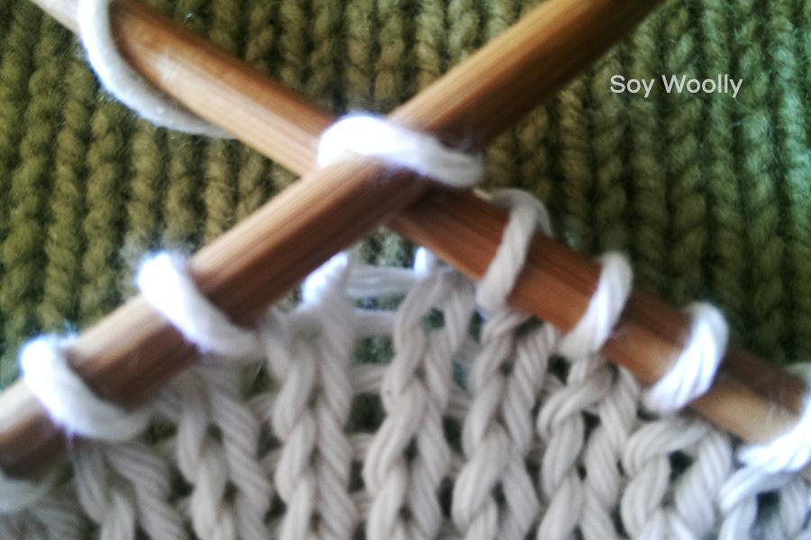 Como tejer punto jersey en dos agujas palillos tricot paso - Como hacer punto de lana paso a paso ...