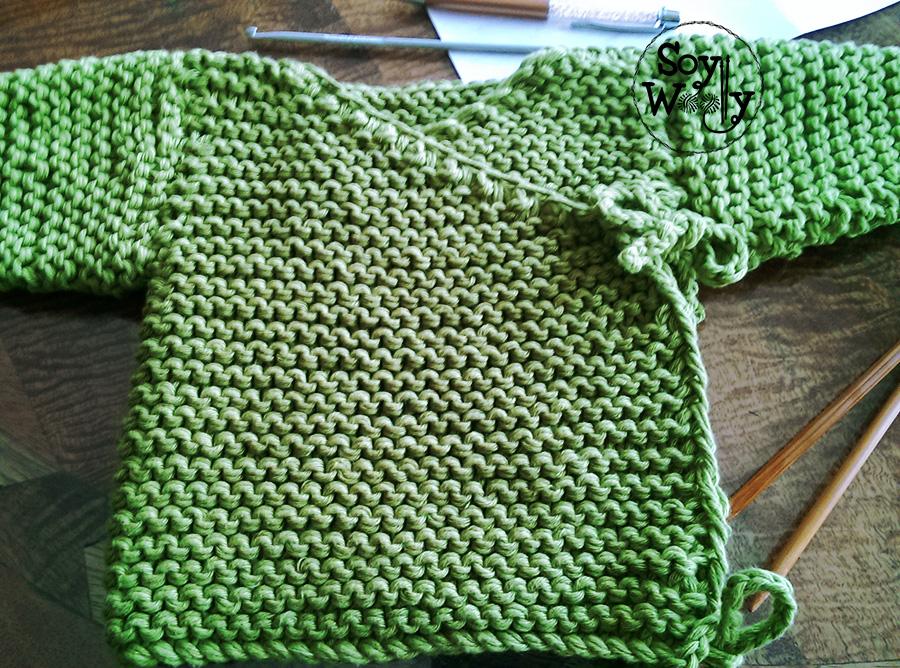 Kimono, chaleco de bebé tejido con dos agujas 2ª parte | Soy Woolly