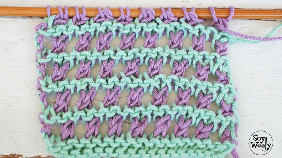 Punto calado dos colores en dos agujas o palillos soy woolly - Puntos de dos colores a dos agujas ...
