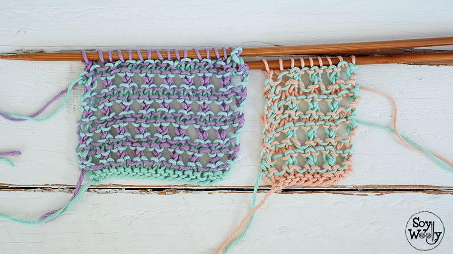 Tejer puntos dos colores-Soy Woolly