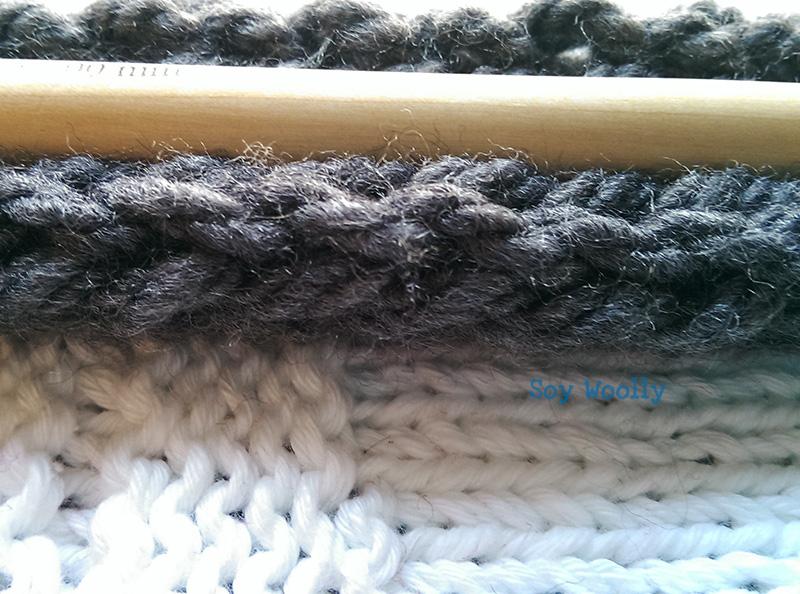 Montar los puntos en cordon dos agujas palitos Soy Woolly