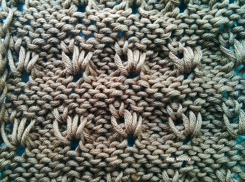 Punto de Petalos dos agujas tricot Soy Woolly
