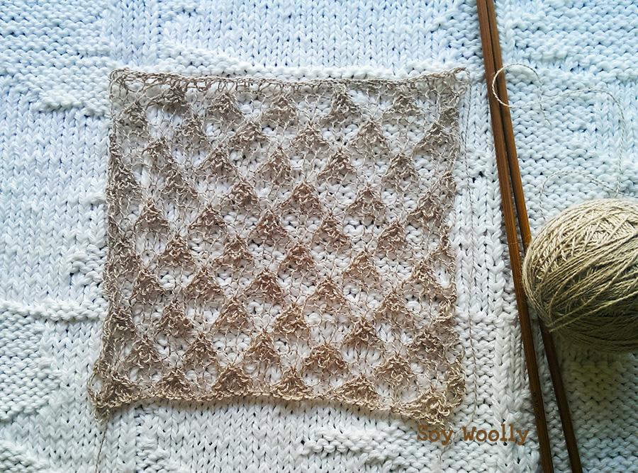 Como tejer encaje ingles a dos agujas despues de bloquearlo-Soy-Woolly