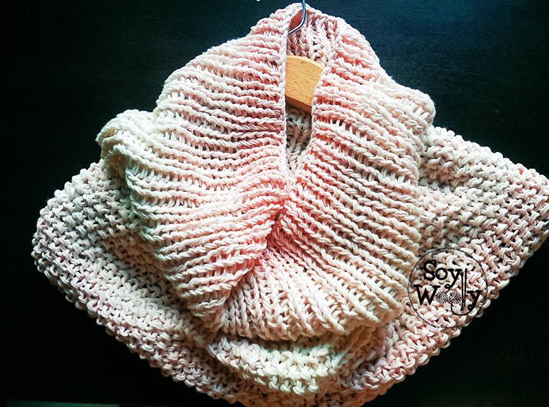 Tutorial tejer cuello XL en colores punto dos agujas calceta-Soy Woolly