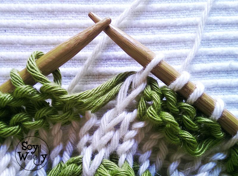Como tejer en dos colores-Soy Woolly