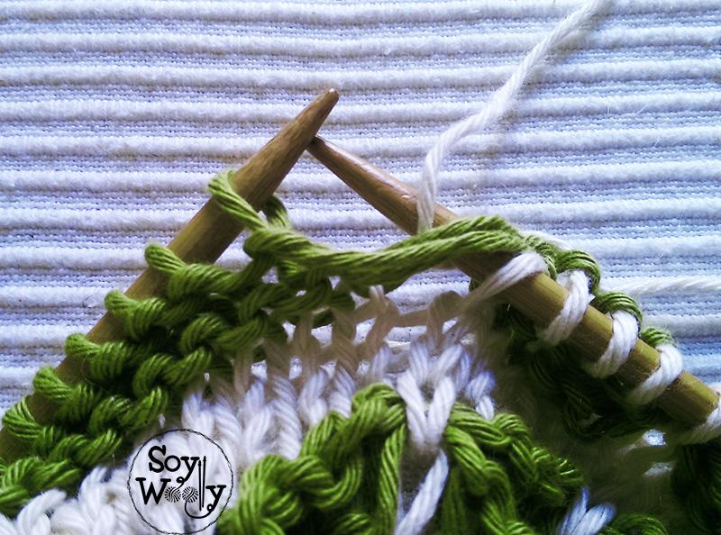 Tutorial para tejer en dos colores-Soy Woolly