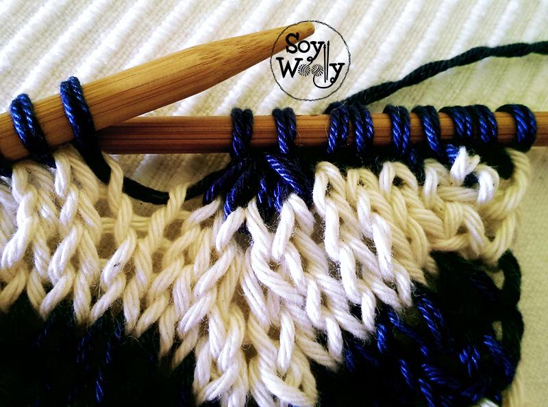 Punto chevron en dos colores c mo tejer picos zig zags - Puntos de dos colores a dos agujas ...