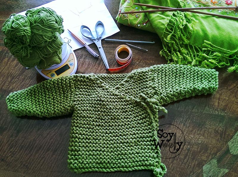 Kimono bebe tejido punto palillos-Soy Woolly
