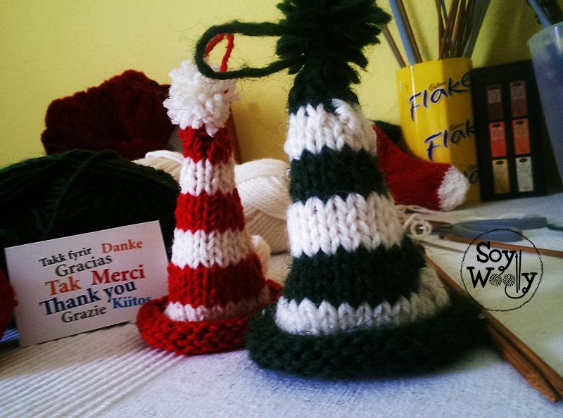 Patrón para tejer un gorro de duende navideño con dos agujas | Soy ...