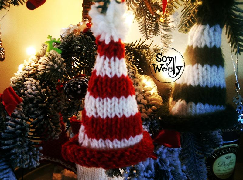 Tejer gorrito duende navidad de punto-Soy Woolly