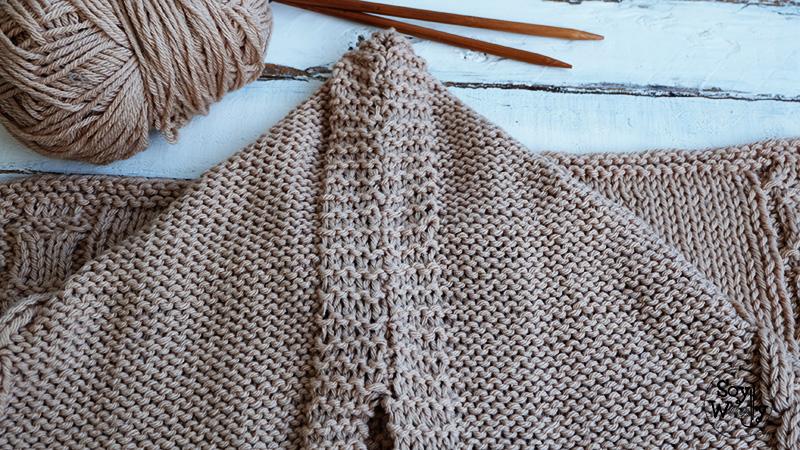 Como tejer una bufanda con capucha facil dos agujas punto palillos-Soy Woolly