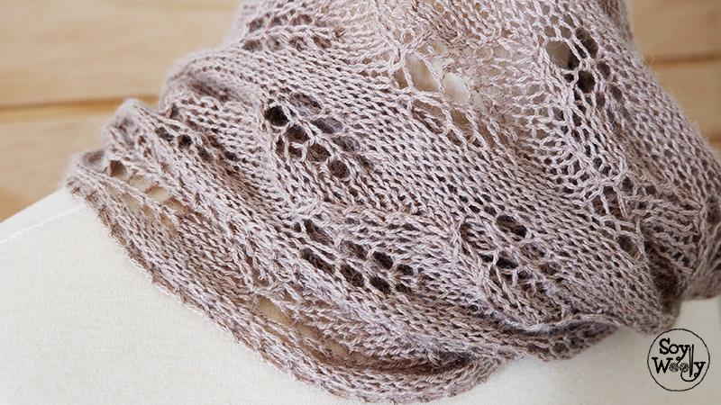 Estola de punto calado dos agujas tricot calceta-Soy Woolly