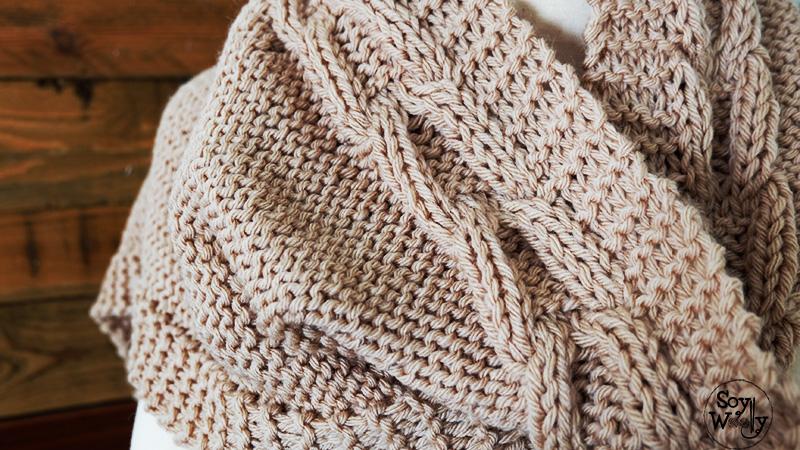 Patron facil para tricotar bufanda con capucha de punto-Soy Woolly