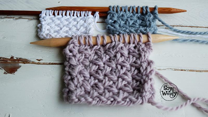 Como hacer el punto de cesta cruzado palillos calceta tricot-Soy Woolly