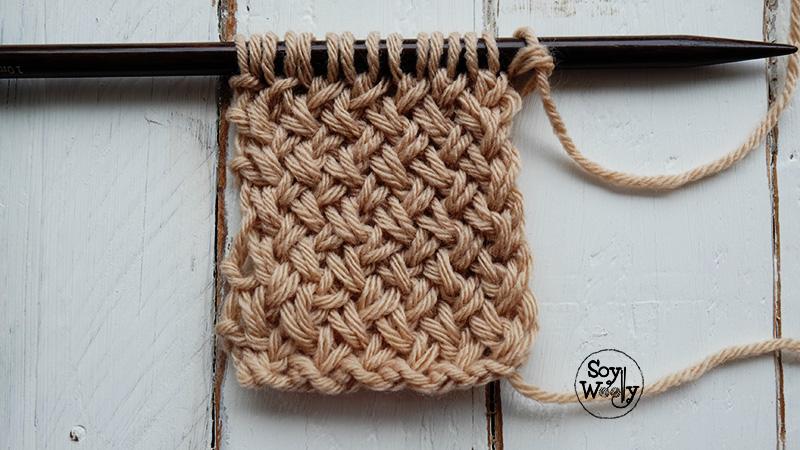 Como tejer punto de cesta diagonal dos agujas/palillos-Soy Woolly