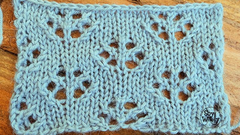 Punto de Flores calado facil dos agujas tricot-Soy Woolly