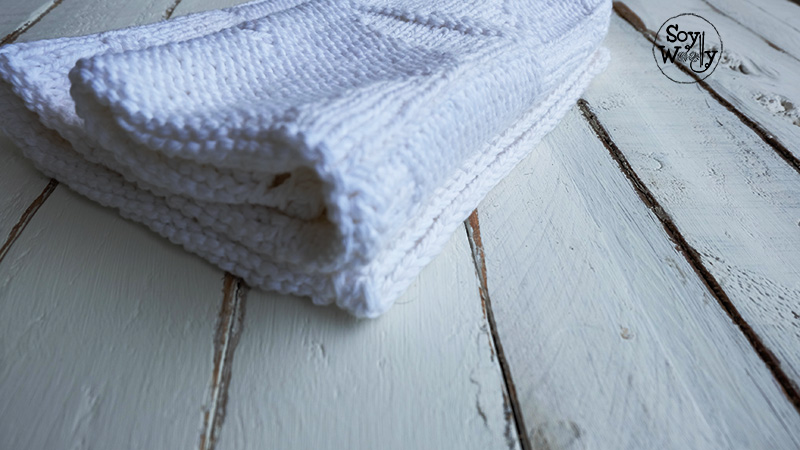 Cobija o colcha facil para bebe tejida con palillos palitos dos agujas-Soy Woolly