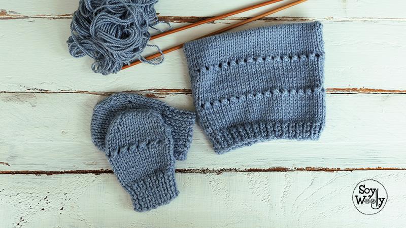 Conjunto de gorro y mitones tejidos en dos agujas para bebe-Soy Woolly