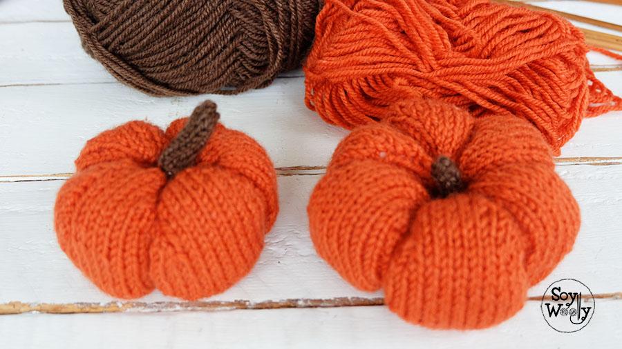 Calabaza amigurumi halloween tejida palillos-Soy Woolly