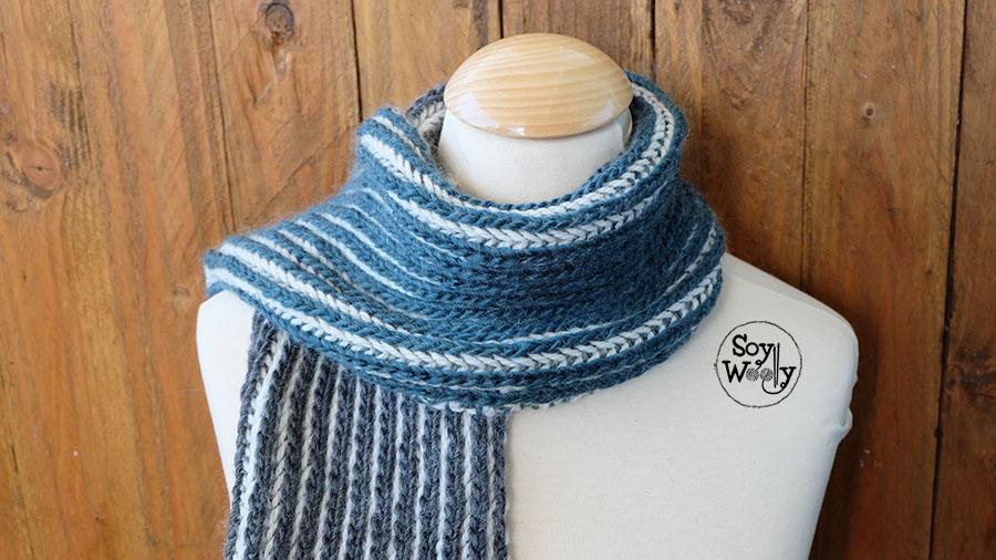 Como tejer bufanda de hombre reversible-Soy Woolly