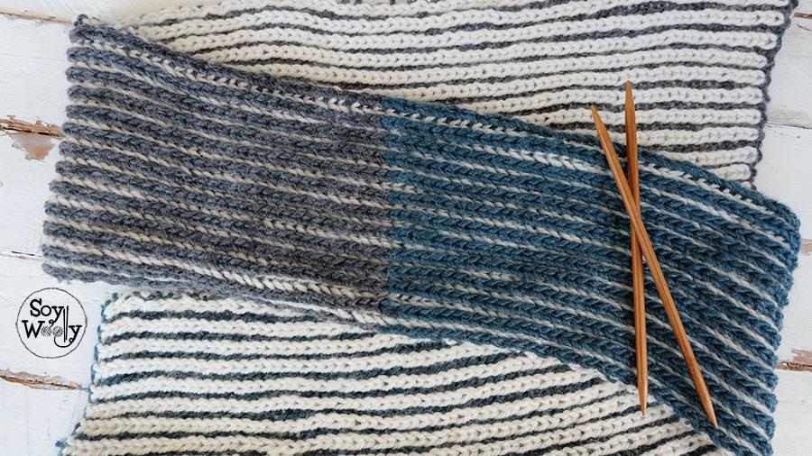 Patron bufanda cuello tejido punto brioche dos colores-Soy Woolly