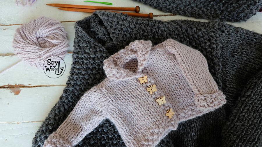C mo coser la chaqueta saco abrigo tejido en dos agujas soy woolly - Tejer chaqueta bebe 6 meses ...