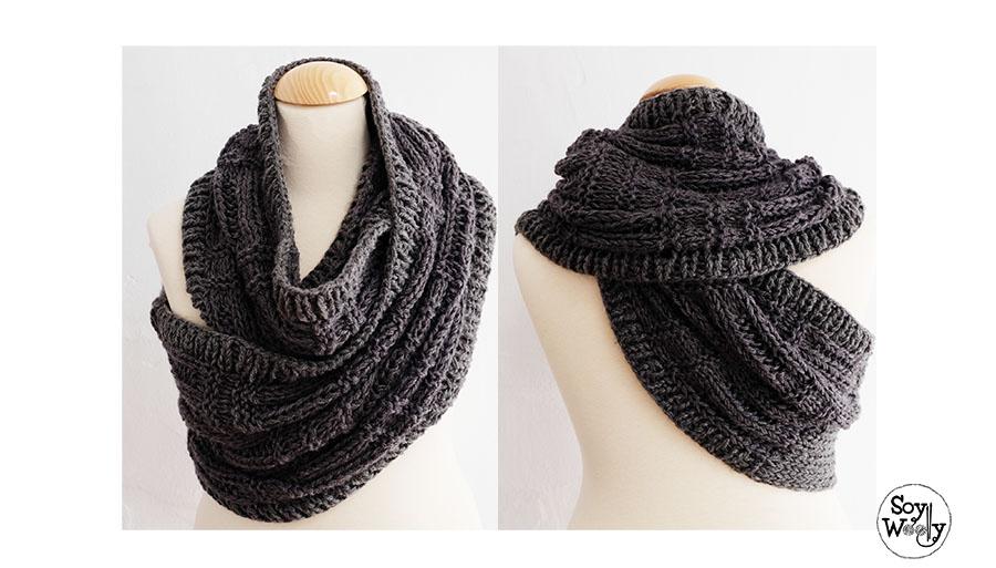 Como usar la bufanda cuello chaleco Katniss-Soy Woolly