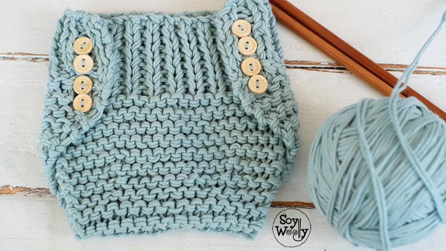 Patrón para tejer un Cubre Pañal fácil en dos agujas/palillos | Soy ...
