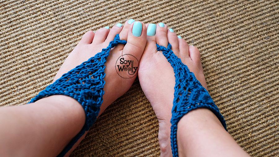 Sandalias de verano tejidas tricot dos agujas palillos palitos-Soy Woolly