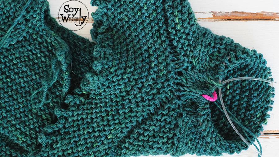 Sacar levantar retomar puntos con agujas circulares tricot-Soy Woolly