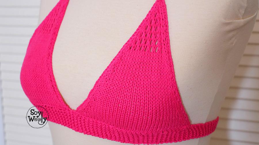 Como tejer la parte de arriba del bikini dos agujas-Soy Woolly