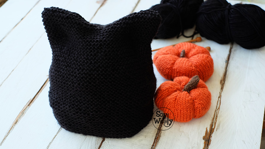 0f530839e87dc Como tejer Gorro orejas de gato Halloween-Soy Woolly