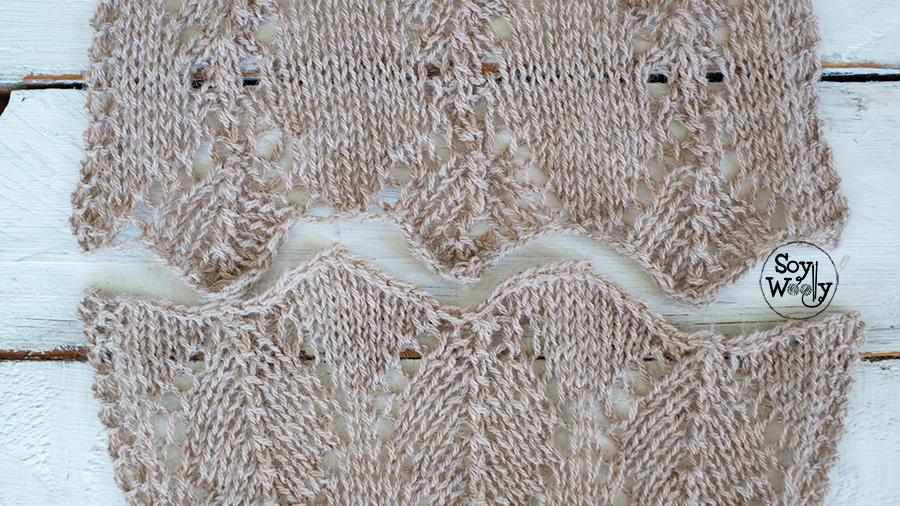 Bordes tejidos en pico iguales al empezar y terminar