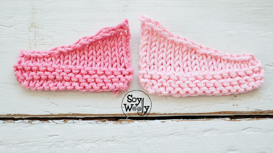 Bordes lisos sin escalones en sisas tejidas dos agujas palillos tricot