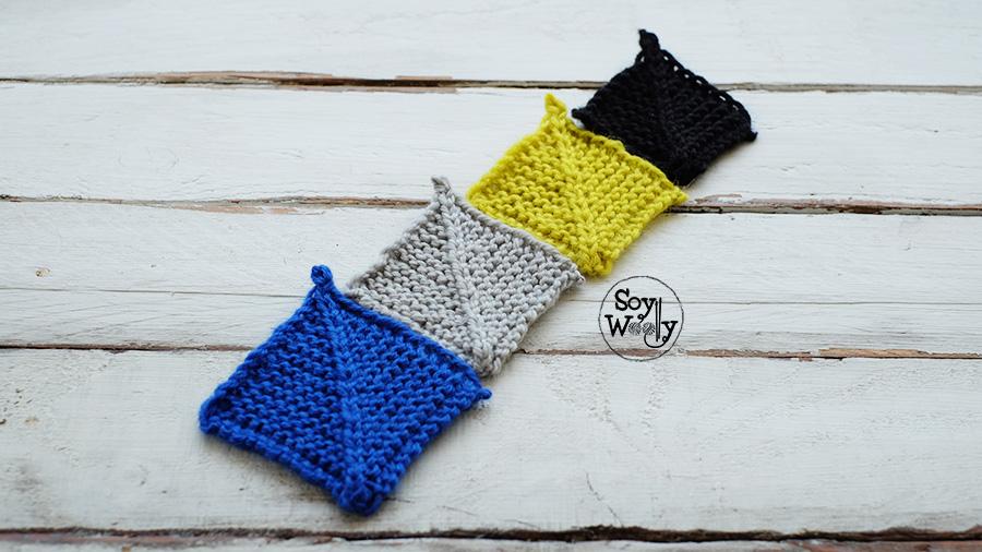 como tejer cuadrados mitered squares en dos agujas tricot calceta