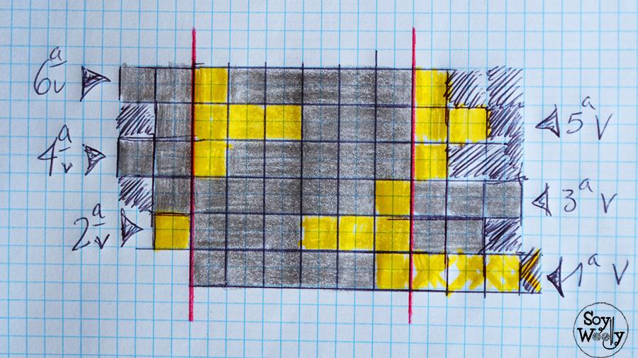 Esquema grafico Jacquard para tejer punto flor de lis dos agujas