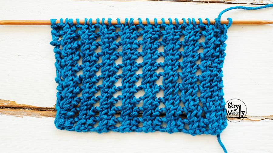 Punto abierto facil tejido en dos vueltas tricot calceta palillos