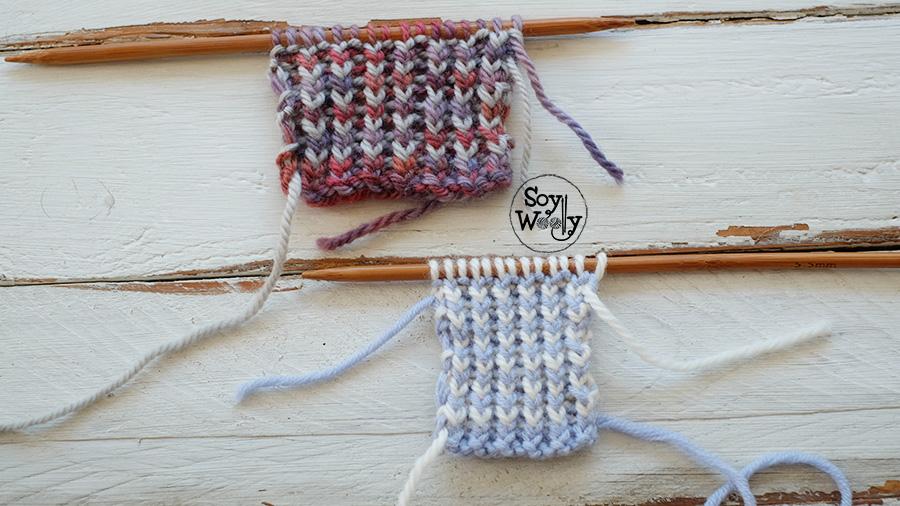 Punto Elastico en dos colores reversible tejido en dos agujas palillos tricot