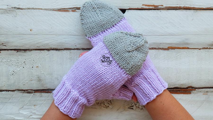 Guantes sin dedos con tapa tejidos en dos agujas tricot calceta
