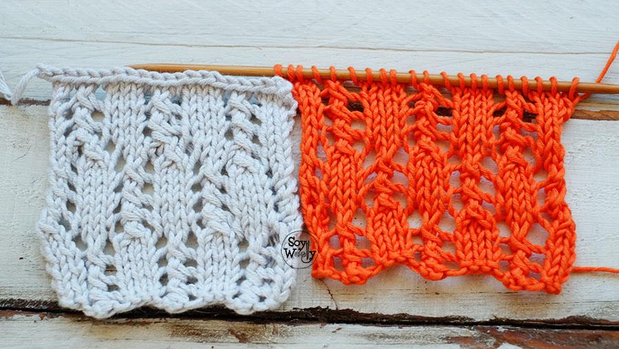Puntada Calada Vertical para tejer chales y bufandas en dos agujas