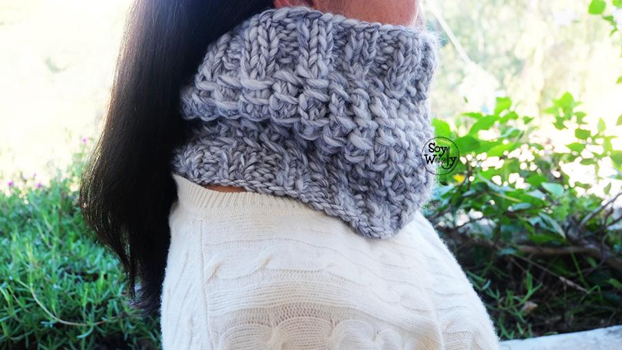 Como tejer un cuello facil con un ovillo tricot calceta palitos