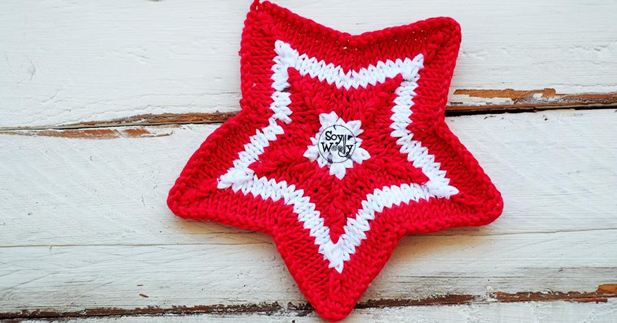 Estrella de Navidad de cinco puntas tejida en dos agujas | Soy Woolly