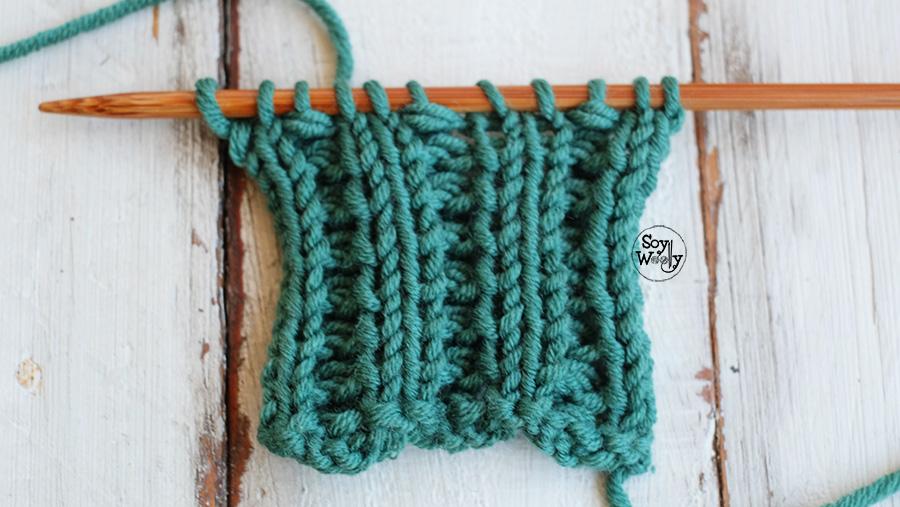 Elastico Calado en Escalera tejido palillos tricot calceta