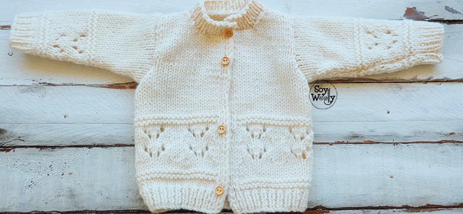 Abrigo para niños tejido en dos agujas (0-3 y 6-12 meses) | Soy Woolly