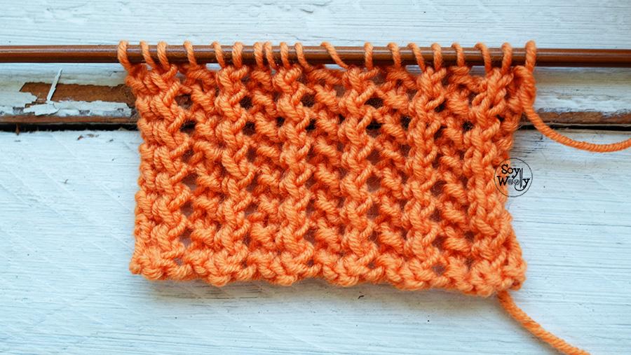 Como tejer el Punto de Rejilla Calado calceta tricot palillos