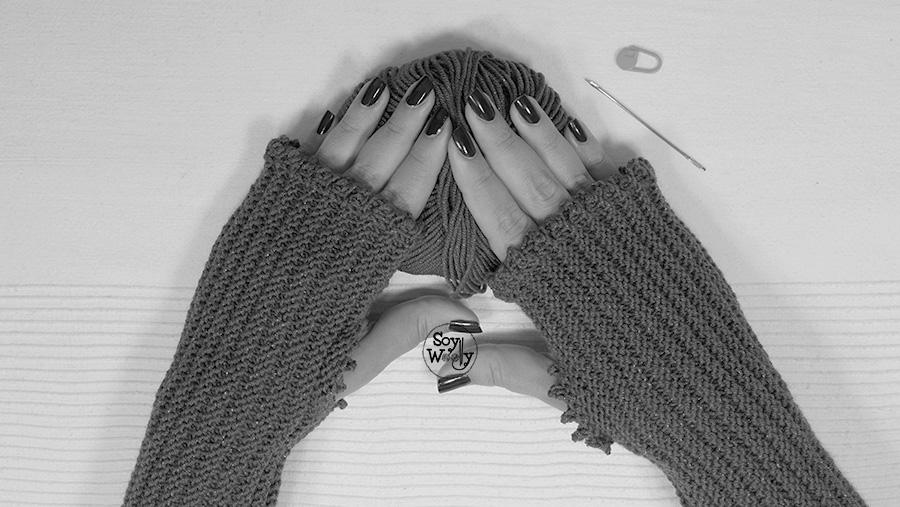 Tejer mitones guantes sin dedos para principiantes dos agujas tricot soywoolly