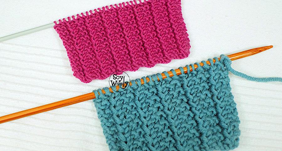 Punto reversible en 1 vuelta para tejer bufandas mantas - Mantas de punto a dos agujas ...