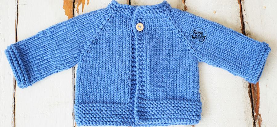 fb1fba9c8573 Cardigan Raglan primera puesta tejido en dos agujas | Soy Woolly
