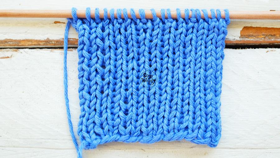 Punto Elastico Deslizado Reversible para tejer bufandas
