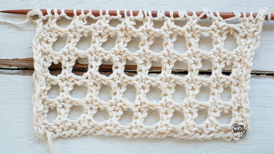 Punto Falso Crochet Calado dos agujas palillos